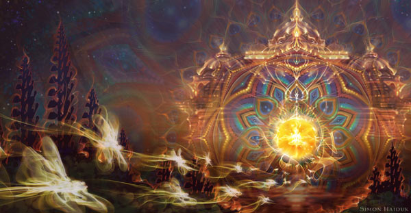 Simon Haiduk visionary art Return to Source fractal geometry portal in nature